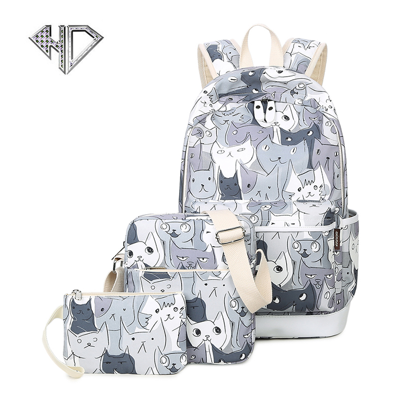 Canvas Lovely Cat Printing Backpack Women School Backpack Bag for Teenage Girls Laptop Rucksack Bagpack Female Schoolbag Mochila canvas backpack women for teenage boys school backpack male