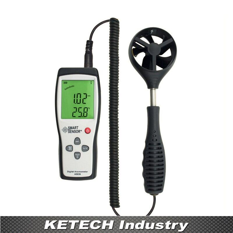 AS836 Digital LCD Display Split Type Anemometer Wind Speed Meter mc 7806 digital moisture analyzer price with pin type cotton paper building tobacco moisture meter