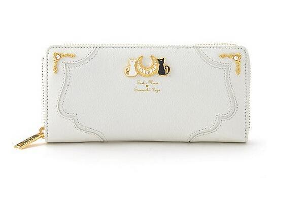 2020 New Fashion Sailor Moon Cat  Women Wallet Long Purse Clutch Handbag Black White Color