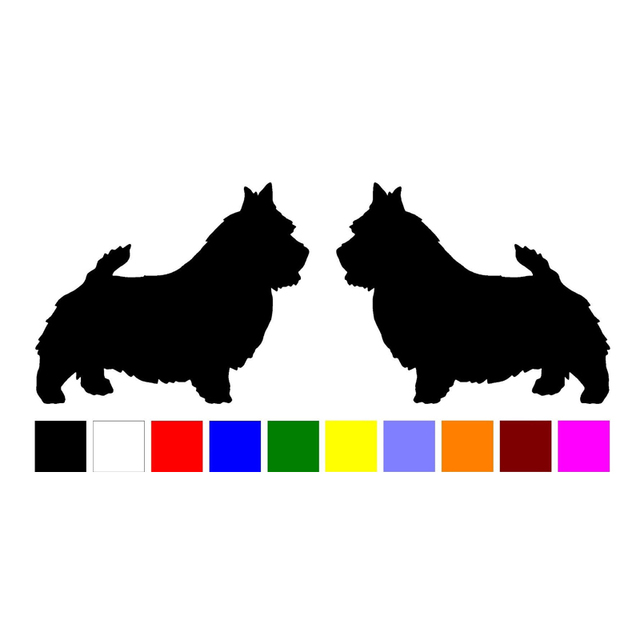 Hotmeini 2 norwich terrier dog breed silhouette home car windows vinyl decals stickers