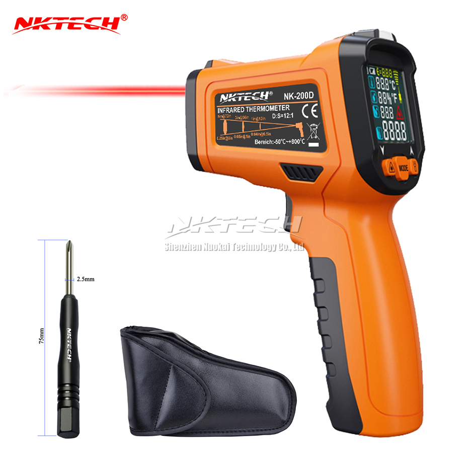 NKTECH Digital Laser Infrared IR Gun NK 200D 5 IN 1 LCD Humidity Dew Thermometer 50~800 Ambient Temperature Thermocouple Meter