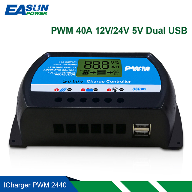 EASUN POWER Solar Controller 40A 12v 24v PWM Solar Charge Controller LCD Solar Voltage Regulator USB Solar Panel Battery Charger