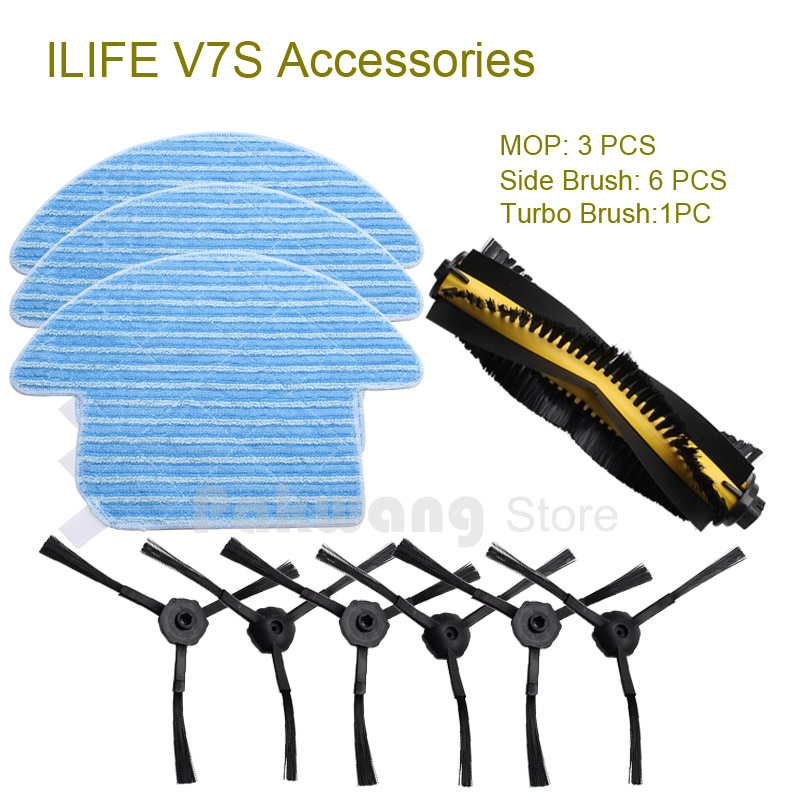 Accessories of Original ILIFE V7S Robot vacuum cleaner Mop cloths 3 pcs Side brush 6 pcs and Turbo brush 1 pc 13pcs set ilife v7s ilife v7s pro robot vacuum cleaner parts kit main brush 1 mop cloths 6 side brush 6 chuwi ilife v7s pro