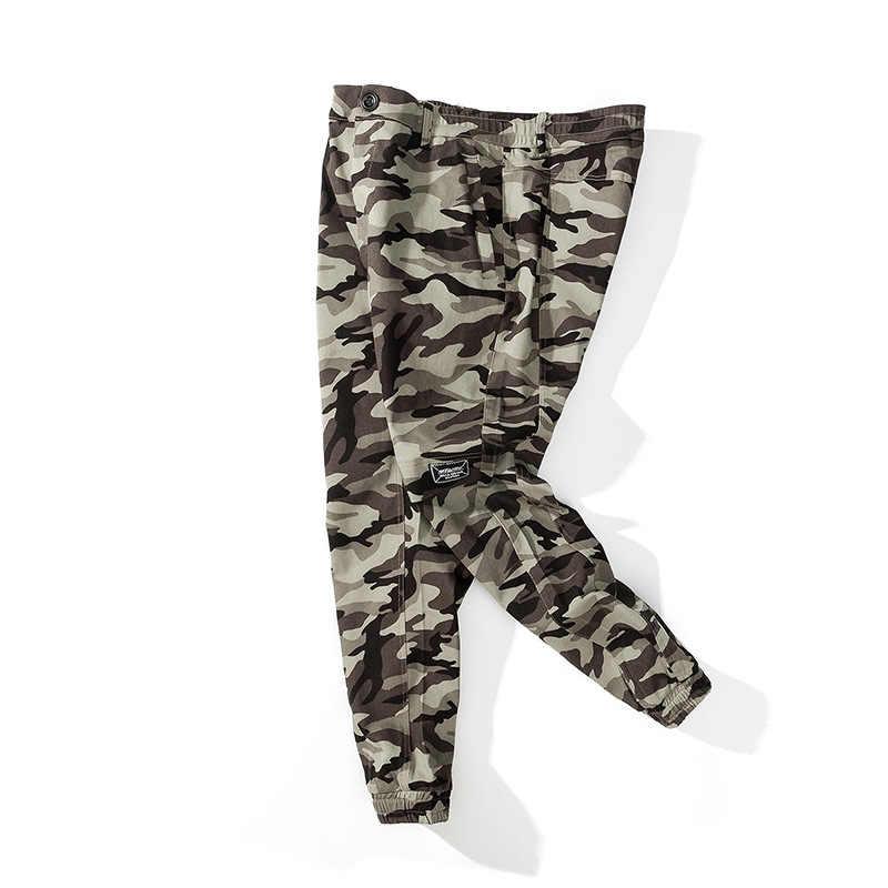 Модные камуфляжные стиль сафари Брюки Карго карманы армейские Панталоны Homme полная длина мешковатые Канье Уэст брюки