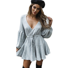 Sexy Deep V neck Lace Up Ruffles Warm Autumn Winter Dress Women 2018 Casual Long Sleeve Knitted Sweater Dress vestidos autumn winter women pullover sweater sexy deep v neck black color sweater dresses hollow lace up short knitted dress for ladies