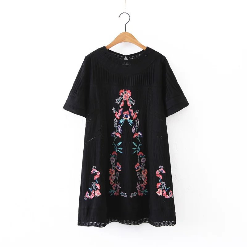 Boho Flower Embroidery Dresses For Women Summer Loose Midi Hippie Chic Style Cotton Vintage Holiday Black Dress Female Clothes