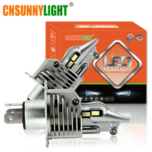 CNSUNNYLIGHT J20 Car LED H4 HB2 9003 Compact Headlight Bulb 12000Lm P43T HS1 Motorcycle Headlamp 6000K White Light Plug-Play