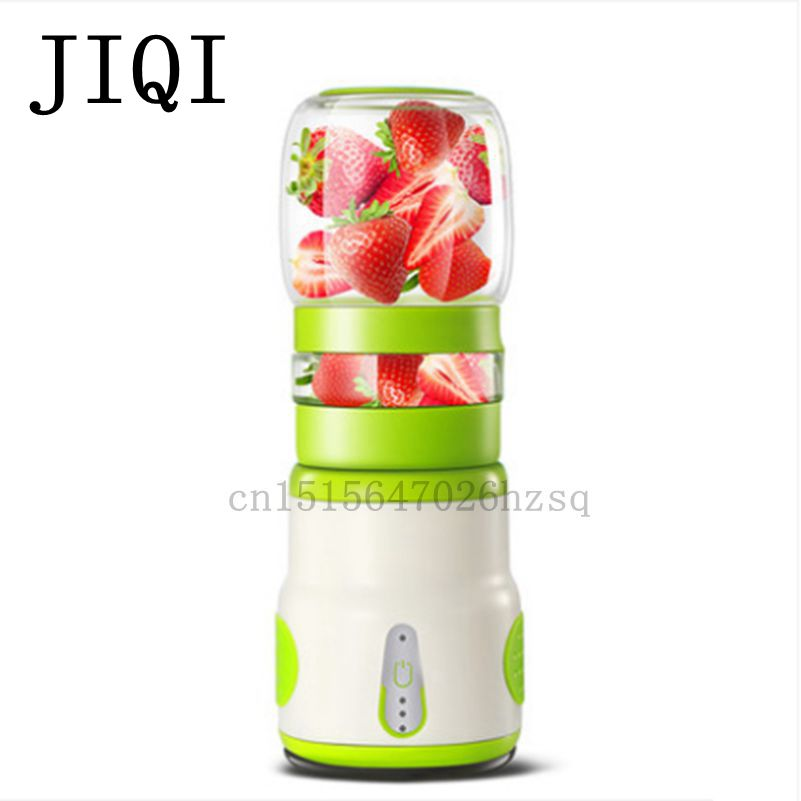 JIQI Household mini electric Portable Juicer Glass Juice Cup 222W big power , pink blue green