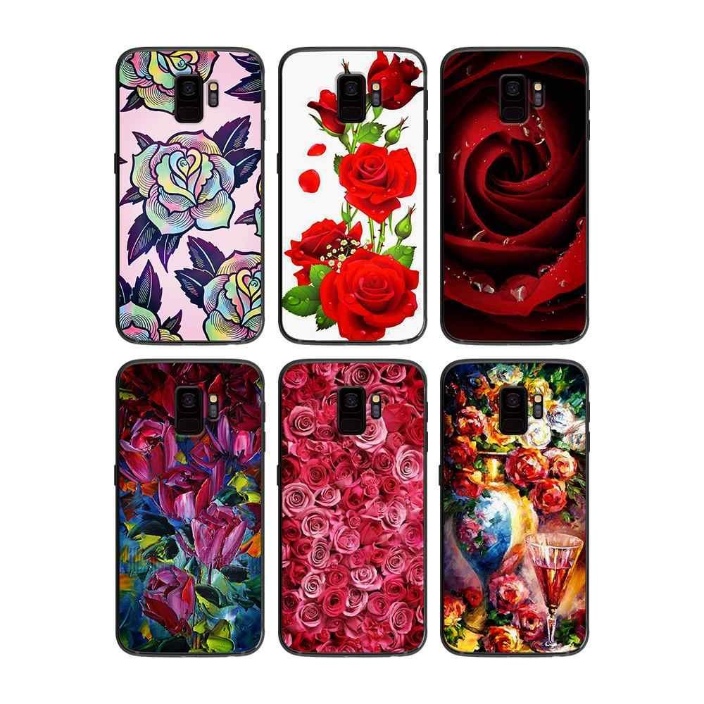 Art rose do Samsung Galaxy A5 A6 A7 A8 A9 2018 2019 Plus M10 M20 M30 miękki futerał na telefon