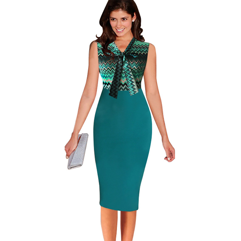 COOL FASHION  FOR WOMEN Oxiuly 2016 Summe Women Sleeveless Patchwork Dresses Slim Dress Knee-Length Wear to Work Office Business Striped Pencil Dress