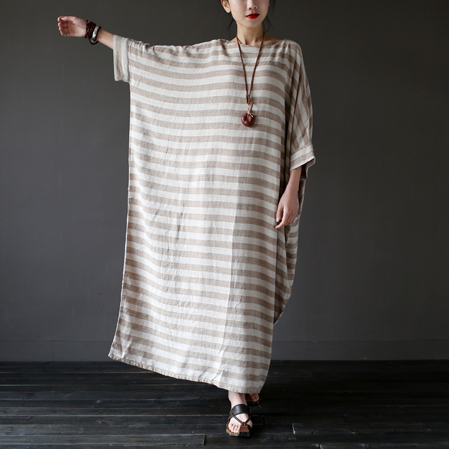 SCUWLINEN 2017 Summer Dresses Vintage Striped Batwing Sleeve Robe Maxi Long Loose Plus Size Women Dress Casual Linen Dress S193