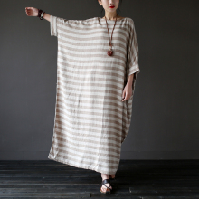 Vintage Striped Batwing Sleeve Robe Maxi Long Loose