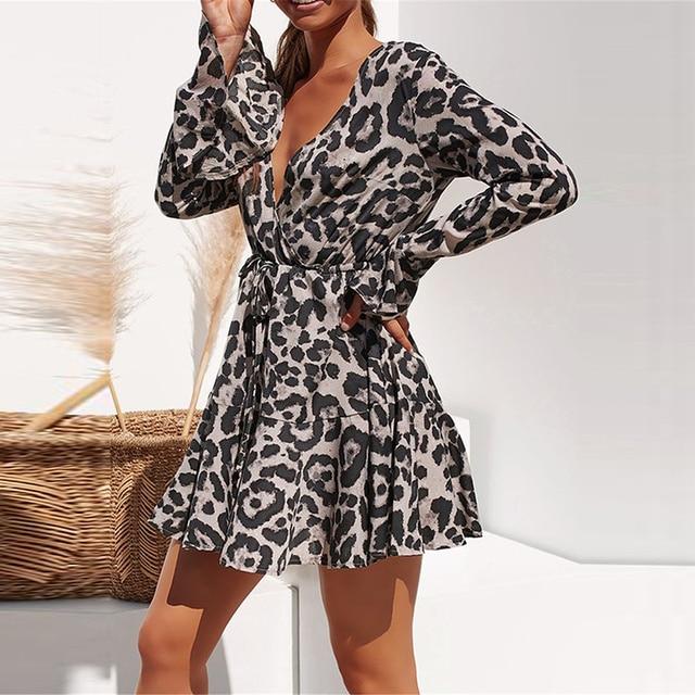 2020 Summer Chiffon Dress Women Leopard Print Boho Beach Dresses Casual Ruffle Long Sleeve A-line Mini Party Dress Vestidos 1