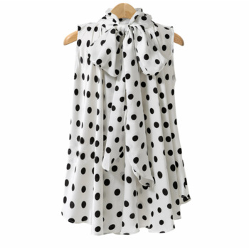 Plus Size Bow Print Big Dot Turtleneck Blouses Shirts 4XL 5XL Streetwear Sleeveless Loose Blouse 2