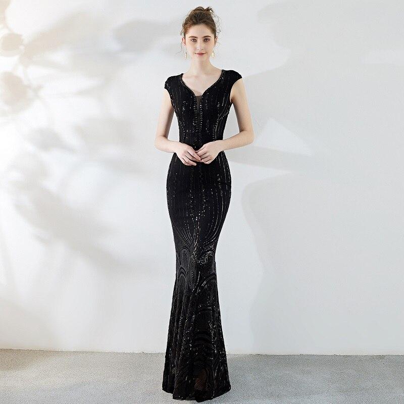Black Paisley Sequined V Neck Sleeveless Hot Sexy Formal Dress Women Elegant Party Dresses Cocktail Club Vestidos Verano 2018