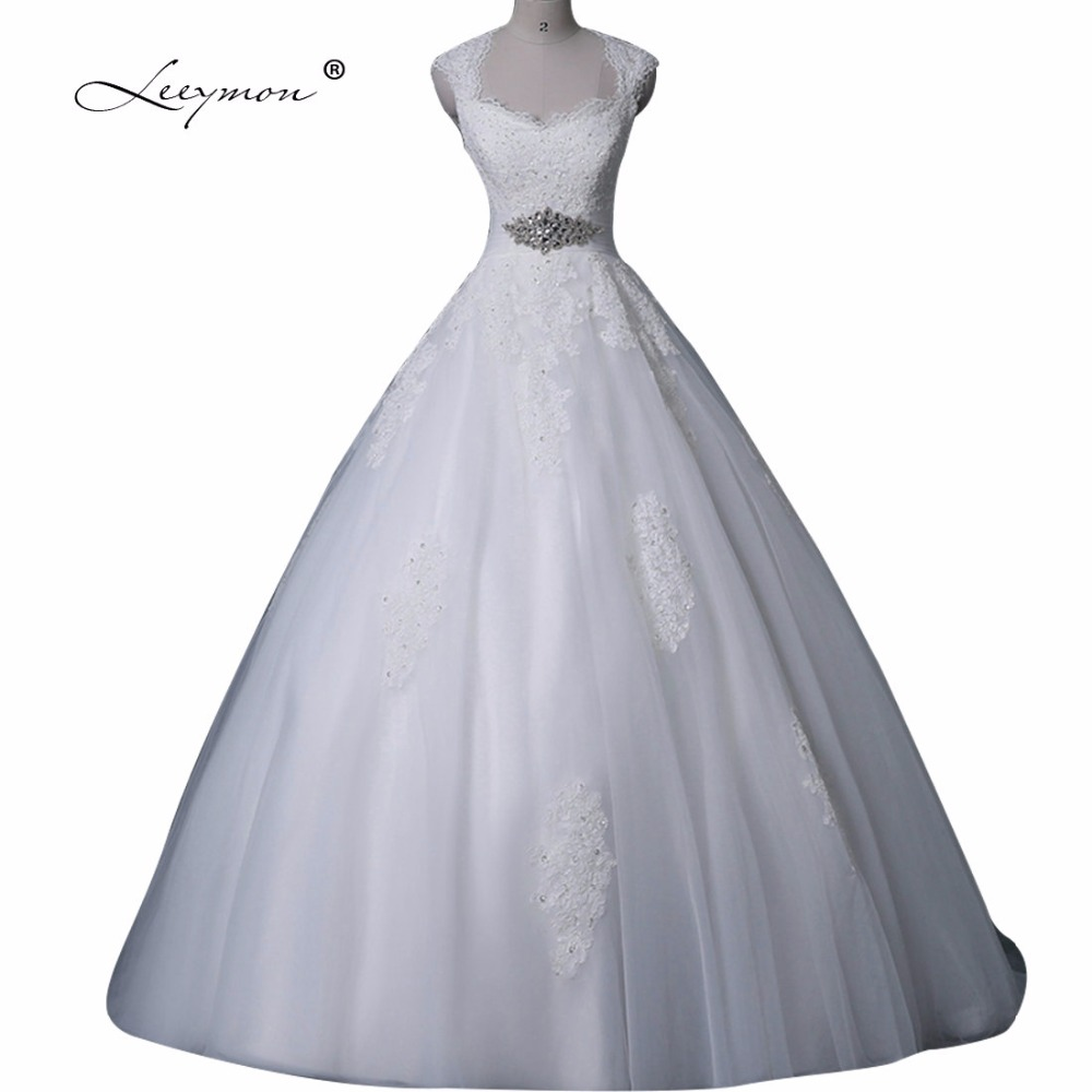 ᗕLeeymon Vintage Wedding Dress Plus Size Beaded Belt Wedding Gown ...