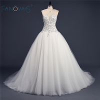 2016 Elegant Modest Ball Gown Crystal Beaded Real Sample Rhinestone Bridal Wedding Dress Vestidos De Novia