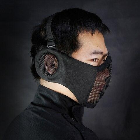 Proteção da Orelha ao ar Net o Campo Tático Airsoft Meia Mais Baixa Máscara Facial Metal Aço Elite Livre Ciclismo 2020