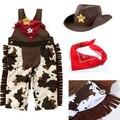 2016 Verão macacão de bebê menino cowboy sem mangas infantil do Dia Das Bruxas 3 pcs geral rompers + chapéu + lenço meninos macacão moda roupas