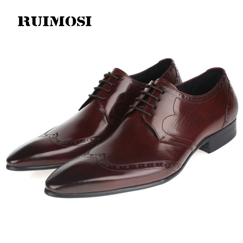 RUIMOSI Fashion Pointed Toe Brand Man Formal Dress Shoes Vintage Genuine Leather Brogue Oxfords Round Men's Wing Tip Flats HD82