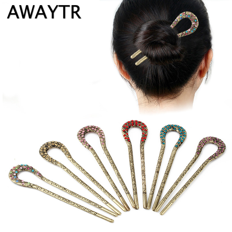 AWAYTR New Vintage Rhinestone Hair Clips Sticks For Women Hair Accessories Girls Haripin Meatballs Retro Geometric Hair Clips