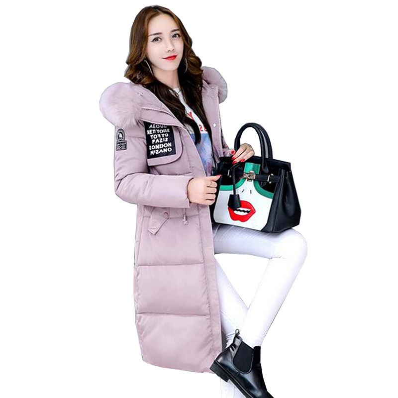 Winter Jacket 2017 new Ladies Long Cotton coat Women Warm Femme hooded jacket female big fur collar coat Plus size outerwear women winter jacket 2017 new fashion ladies long cotton coat thick warm parkas female outerwear hooded fur collar plus size 5xl