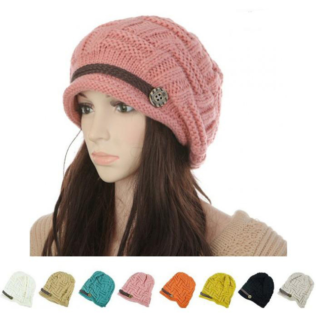 2015 Women Winter Knitted Beanies New Fashion Women's Hats Warm Black Lady's Caps  Acrylic Woman's Headwear Hat For Female