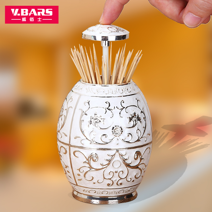 Portable toothpick box houselinen fashion europe style food safety plastic egg shaped automatic toothpick tube