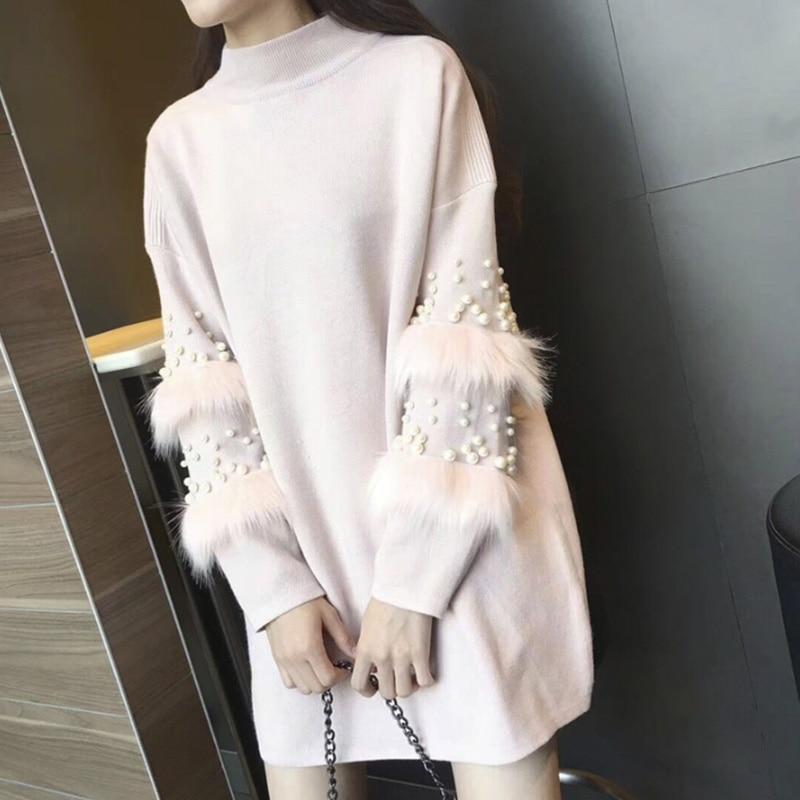 Femelle Chaud white Pull Manches De Manteau Femmes Cavaliers gray Mode pink Chandail Fourrure Longue Long Solide Robe Black Coréenne Perle Hiver Casual nx6wxWP