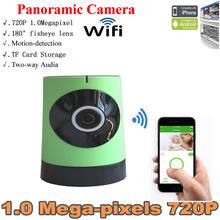Главная Беспроводные Панорамная Камера Система APP Software Рыбий Глаз p2p Wi-Fi IP Камеры обнаружения движения уведомление alret мини стиль зеленый Цвет