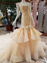 Angel Tree Custom Made Mermaid Sleeveless O-Neck Lace Crystal Beading Flowers Court Train Bridal Gowns Wedding Dresses