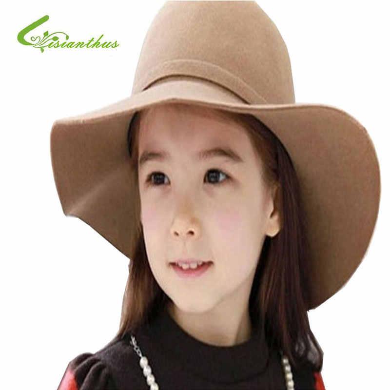 070846e7b0096 ... Children Hats Autumn Winter Warm Kids Girls Vintage Wide Brim Cap Soft  Wool Felt Bowknot Bowler ...
