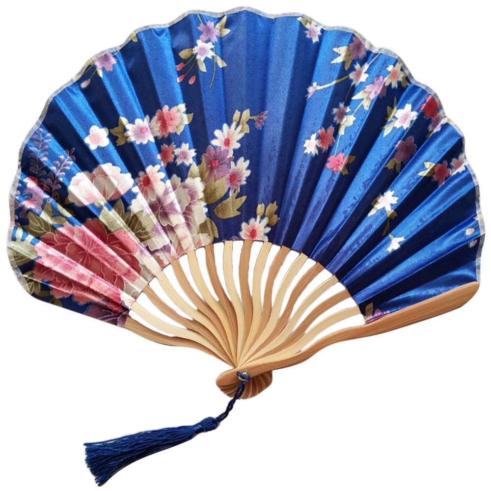 Purple Fashion Chinese Hand Held Fan Bamboo Silk Flower Folding Wedding Decor