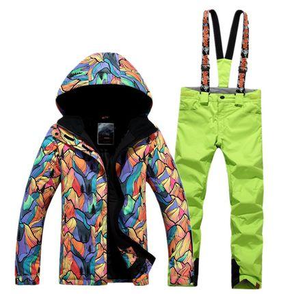 GSOU SNOW combinaison de Ski femme simple Double planche extérieur épais chaud imperméable veste de Ski + pantalon de Ski taille XS-L - 2