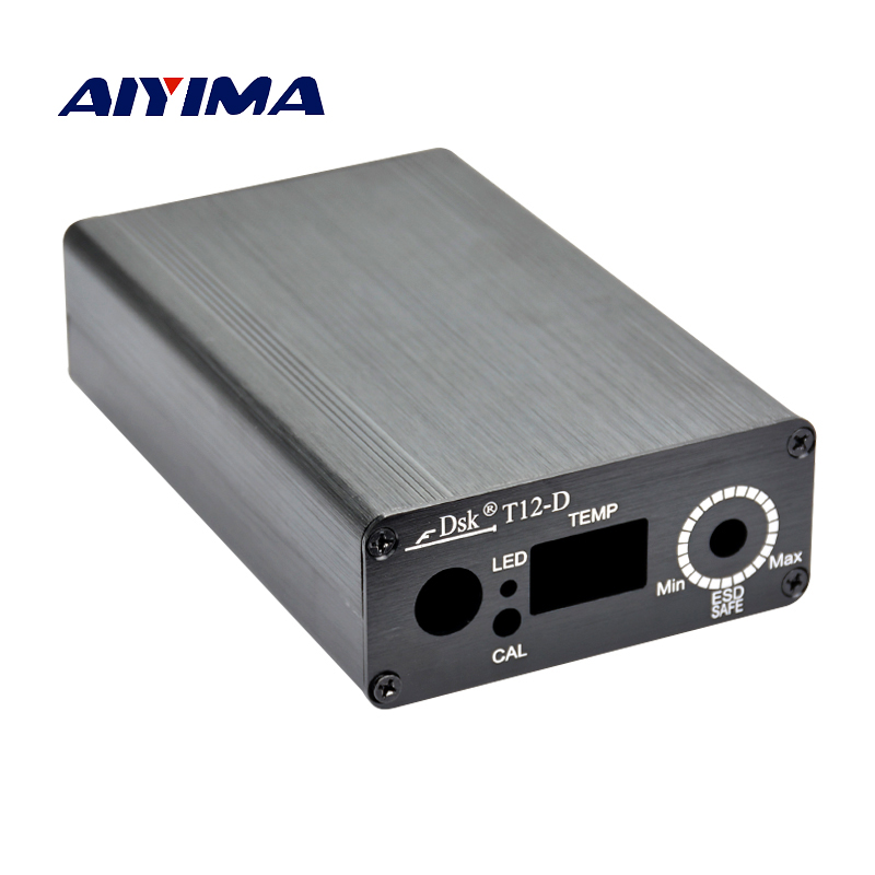 Aiyima T12 Digital Soldering Iron Station aluminum shell case with Power IEC Socket Switch For diy