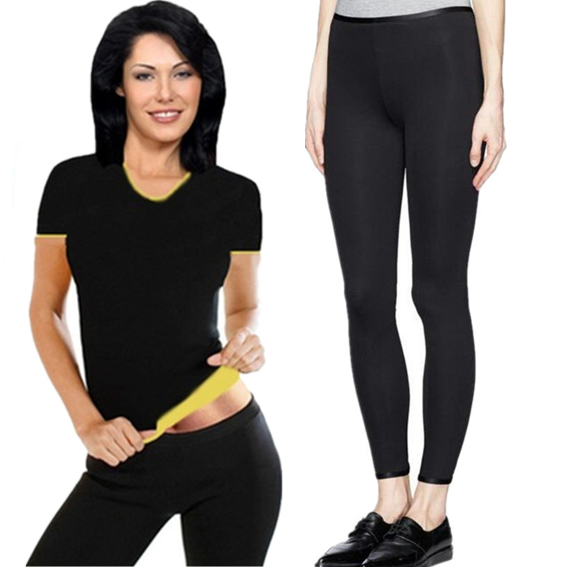 New Women Shaper Neoprene Sauna Slimming Shirt Shapewear Waist-Trimmer Slimming Pants Weight Loss Fat Burning Tshirt Capri Pants camiseta para quemar grasa