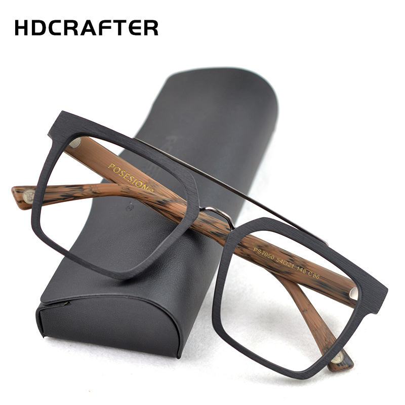HDCRAFTER Square Glasses Men Women Wooden Fashion Retro Prescription Optical Spectacle Eyeglasses Glasses Frame Vintage Eyewear