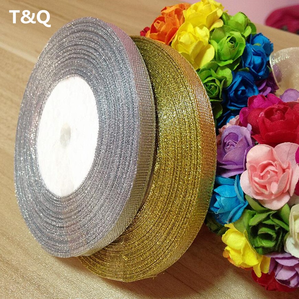 Gold silver ribbon 25 yards 22M metal shiny For wedding party Christmas decoration DIY craft cake gift bow packaging ribbon