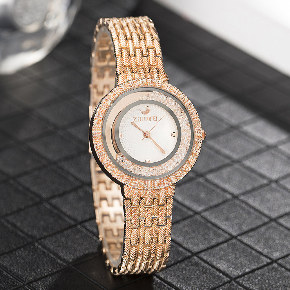 2019 New Watches Zonmfei Brand Women 39 s Wristwatches Fashion rhinestones Watch Dial Meshed Gold Rose gold silver Black Clock in Women 39 s Watches from Watches