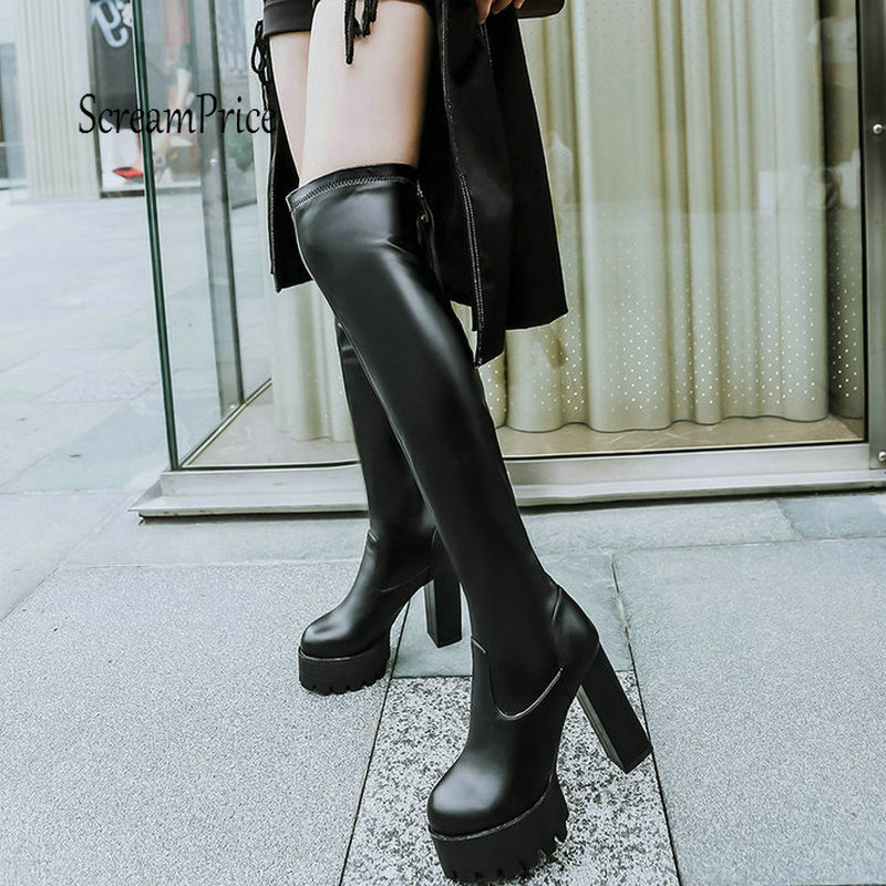 Platform Fashion Fringe Thick High Heel Over The Knee Boots Zip Winter Women Thigh Boots White