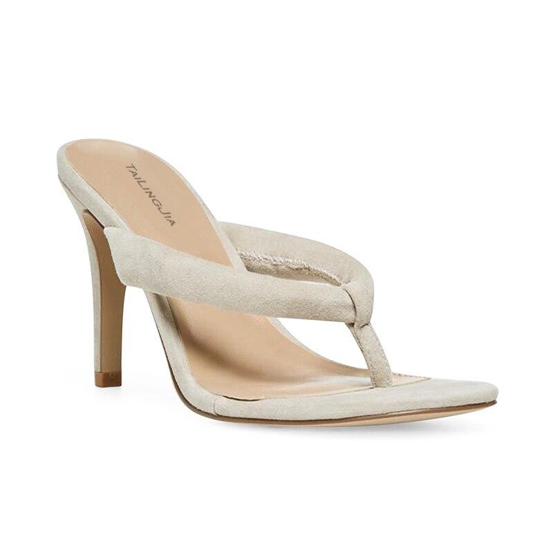 Модные женские сандалии на высоком каблуке; Цвет Черный; вьетнамки на каблуке; цвет бежевый; женские летние туфли на шпильке; большие размеры; 2019 - 2