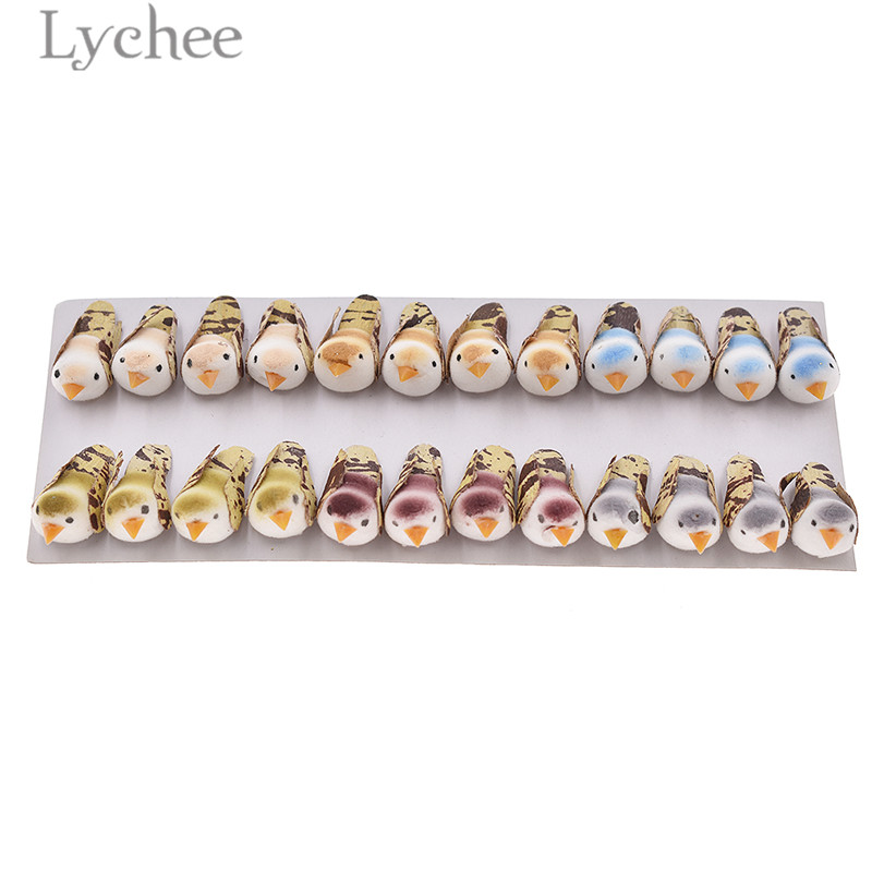 Lychee 24pcs/set Mini Foam Artificial Birds Lovely Colorful Fake Birds Miniatures Party Home Decoration Random Sets
