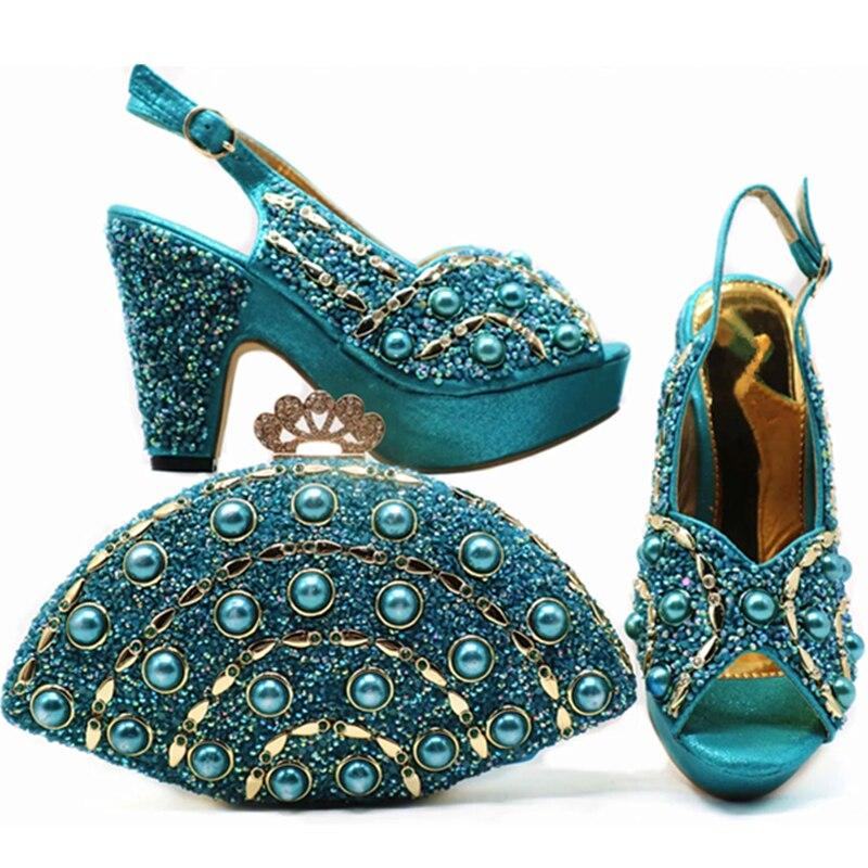 Nouvelle Mariage Les De Chaussures Arrivée Sac Ensemble Nigérian Et Sacs Pour Italiennes blue or Avec Assortis Sliver Strass orange Décoré Femmes peach Pwx5PvI