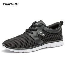 TianYuQi Men Casual Shoes Breathable Lightweight Footwear Leisure Comfortable Lace Up Loafers Shoes Outdoor Mesh Cool Shoes