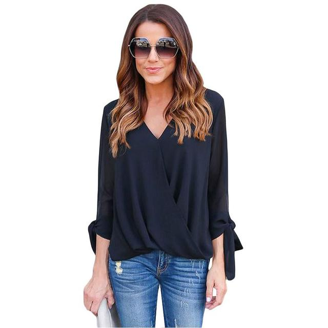 2de39eddf96c27 New Flare Bell Sleeve Embroidered Crisscross Top Women Summer Long Sleeve  Vintage Sexy Chiffon Casual Ladies Tops And Blouses