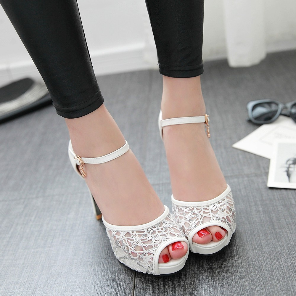 ФОТО 2016 summer women shoes Hasp Square heel Solid color Mesh sandals Soft leather Peep Toe sandals big size 34-43 T1353