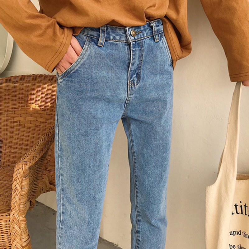 Women   Jeans   Denim Pants 2019 Spring Summer Fashion Female Wild Classic Casual High Waist   Jeans   Demin Straight Pant Trousers