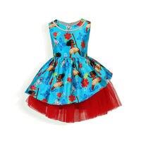2017 Summer Kids Toddler Girls Princess Moana Dress Print Vaiana Costume Robe Girl Dress Cosplay Dress