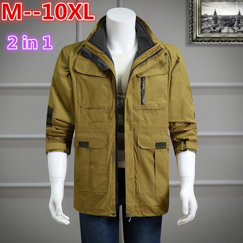 4 in 1 5 1 2 7 1 2 8 1 2 8 scissors set plus size 8XL 6XL 5XL 4XL Fall Autumn jacket men 2 in 1 set parka jacket windproof waterproof hooded Overcoat Casual Male Jacket