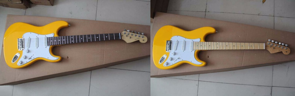 New yellow Stratocaster 6 string white Electric Guitar in stock,S-S-S noise reduction pick-up